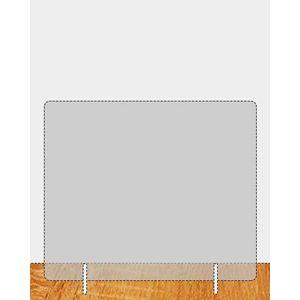 Plexiglas spatscherm 1000 x 740 mm (bxh) dikte 4 mm met 2 steunen