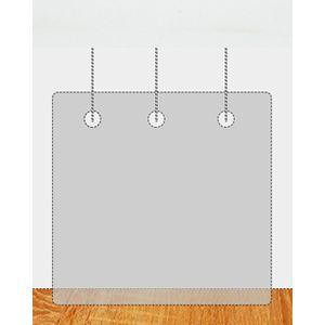 Plexiglas ophangscherm 1500 x 1000 mm (bxh) dikte 3 mm met 3 gaatjes Ø5