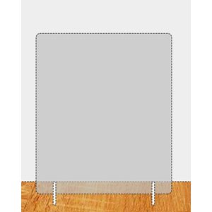 Plexiglas spatscherm 740 x 670 mm (bxh) dikte 6 mm met 2 steunen