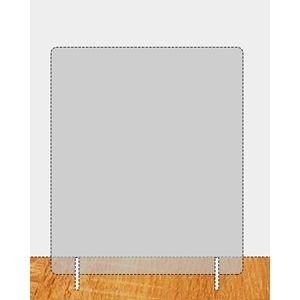 Plexiglas spatscherm 900 x 670 mm (bxh) dikte 8 mm met 2 steunen